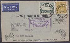 1934 Australia per VH-UXX FFC Sydney via Auckland (B/S) New Zealand: London, UK