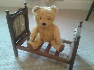 Dolls bears bed Antique doll and teddy bears ,bed great display item wood