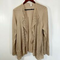 Chicos Size 3 Size XL Cardigan Sweater Metallic Gold Open Front Crochet Lace