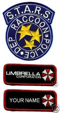 FANCY DRESS HALLOWEEN COSTUME RESIDENT EVIL RACOON POLICE NAME 3-PATCH SET BLUE