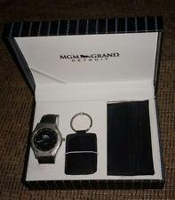 MGM Grand Detroit Casino gift box BRAND NEW w WATCH KEYCHAIN WALLET vintage