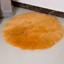 Faux Sheepskin Chair Cover Seat Pad Shaggy Area Rugs For Bedroom Floor Yello