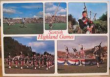 Scottish Postcard HIGHLAND GAMES Scotland Caber Tossing Dancing Whiteholme 4x6