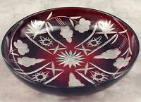 VINTAGE BOHEMIAN RUBY RED CUT TO CLEAR GLASS BOWL ~STAR, GRAPE & FLORAL DESIGN~