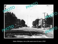 OLD LARGE HISTORIC PHOTO OF SALINE MICHIGAN, VIEW OF MAIN STREET & STORES c1920