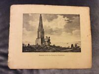 Antique Book Print - Prussian Memorial, Waterloo - 1830