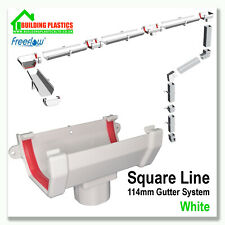 SQUARE LINE GUTTERING & FITTINGS WHITE | 114mm SYSTEM| FREEFLOW