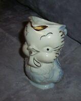 "VINTAGE Shawnee Blue OWL PITCHER Creamer 1940s  6 1/4"" Tall Gold Trim"