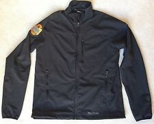MARMOT M3 Black Soft Shell TEMPO JACKET Honey Brown Lager BEER PATCH Mens LARGE
