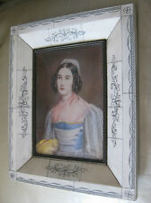 """Antique oil hand painted miniature signed and framed. Picture: 5""""4/8 x 4"""""""