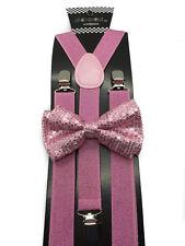 12 Colors Men & Women Sequin Bow Tie & Glitter Suspender Combo Great for Wedding
