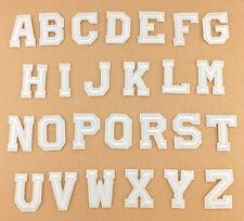Weiß Alphabet Brief Patch bestickt Nähen Eisen auf Abzeichen Patches Applique