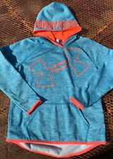 Under Armour Hoodie Pullover Big Logo Teal Blue Orange Youth Large Coldgear Girl
