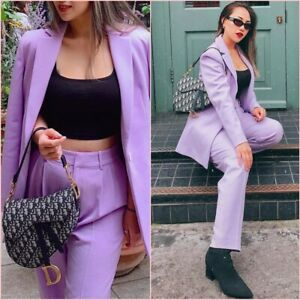 Zara Purple Lavender Cropped Trousers Pants Size S 8 UK 4 US