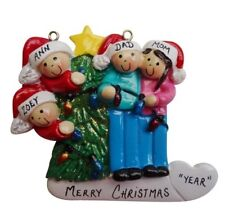Personalized Christmas Tree Lights Family of 4 Ornament
