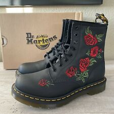 Dr. Martens 1460 VONDA 8 Eye Floral Red Rose Leather Boots Black Women's Size 8
