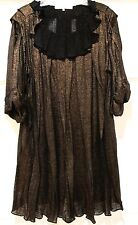 3.1 PHILIP LIM Metallic Bronze Knit Pleated Swingy Trapeze Ruffled Dress Sz S