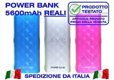 POWER BANK 5600mAh REALI USB CARICABATTERIE EMERGENZA PORTATILE TELEFONO TABLET
