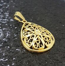 18K Gold Filled Intricate Italian Smooth Marques 18ct GF Pendant 35mm