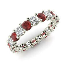 2.03 Carat Genuine Ruby Eternity Band 950 Platinum Real Diamond Ring Size 5 6 7