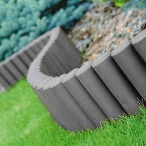 GARDEN FENCE LAWN BOARDER EDGE HAMMERED PALISADE FENCING PLASTIC 2.80m GRAFITE