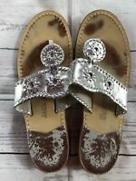 Women's Jack Rogers Hamptons Silver Sandals-Size 9