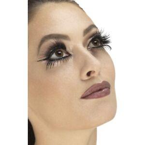 Black Eyelashes Top & Bottom Set With Wings + Glue Ladies Fancy Dress