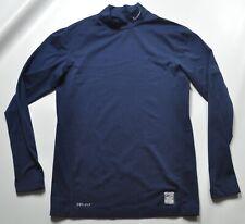 Nike Pro Combat Compression Shirt Long Sleeve Mock Neck Navy Blue
