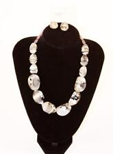 "STELLA 18"" Faux Gray Black Stones Necklace Earrings Set Fashion Jewelry New jxav"