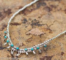 Native American Navajo Turquoise Mini Squash Blossom Necklace Sterling Silver