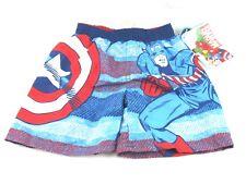 Marvel Toddler Boys Captain America Swim Trunks Blue/Red Size 2T New