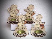Juego de 4 madera portavelas ángel con instrumento 10cm Arte De Madera 70293