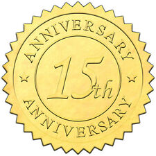 """Elegant GOLD embossed foil anniversry seals """"15th ANNIVERSARY"""" - 50 pack"""