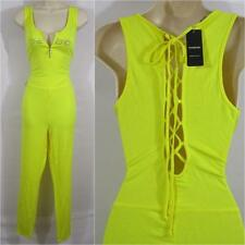 BEBE YELLOW LOGO CATSUIT JUMPSUIT NEW NWT LARGE L