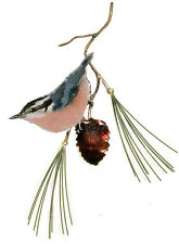 Red Breasted Nuthatch Bird On Pine Metal/Copper Wall Art Sculpture- Bovano W470