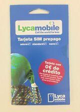 3 Ud Tarjeta Lycamobile Lyca SIM Card credit 0€ saldo PREPAGO Lista para usar ✅✅