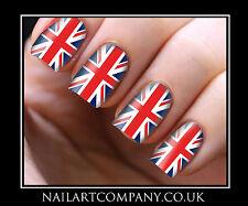 Nail Art Decals Transfers Stickers Wraps Union Jack Print Foils Manicure X 32
