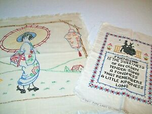 Two Stitched Linen Sampler and Embroidered Picture to Frame  (#2)