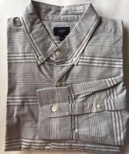 J.Crew Men Dress Shirt Long Sleeve Gray Large Stripe White Long Sleeve Cotton