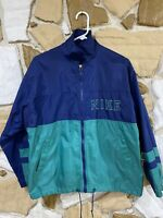 Vintage Nike Youth Large 14-15 Full Zip Green Blue Windbreaker Jacket 90's