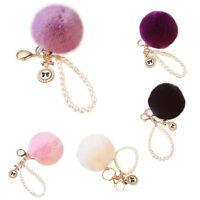 Chic Genuine Rabbit Fur Pearl Ball Pom Pom Car Key chain Handbag Charm Key Ring