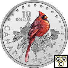 2015 Northern Cardinal-Songbirds Color Prf $10 Silver Coin 1/2oz . 9999(17001)NT
