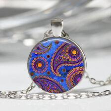 Paisley photo Tibet silver Dome Glass Cabochon Necklace chain Pendant #356