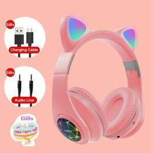 1pc RGB Cat Ear Headphones 5.0 Noise Cancelling Bluetooth Headset TF Support Mic
