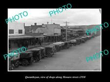 OLD POSTCARD SIZE PHOTO OF QUEANBEYAN ACT VIEW OF MONARO St & STORES c1930