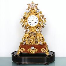 French Antique Mantel Clock DEMEUR FARRET GILDED Dome ROYALTY 1860 Porcelain TOP