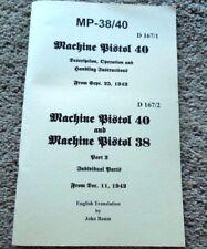 German WW2 MP40 Manual 1942 English Translation MP38 20 Pages