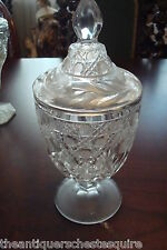 Covered Candy Dish Mid Century round pressed clear glass[4]