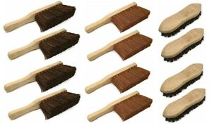 Set of 4 Wooden Scrubbing Brushes with Handles Heavy Duty Garden Brushes