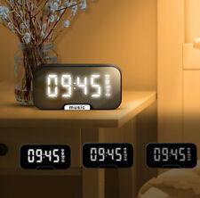Digital Alarm Clock Radio bluetooth  5.0 Mirror LED Display With Speaker Stand